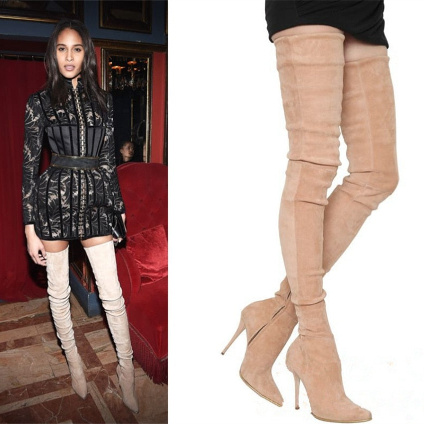 Faux Suede Thigh High Boots_allurelane