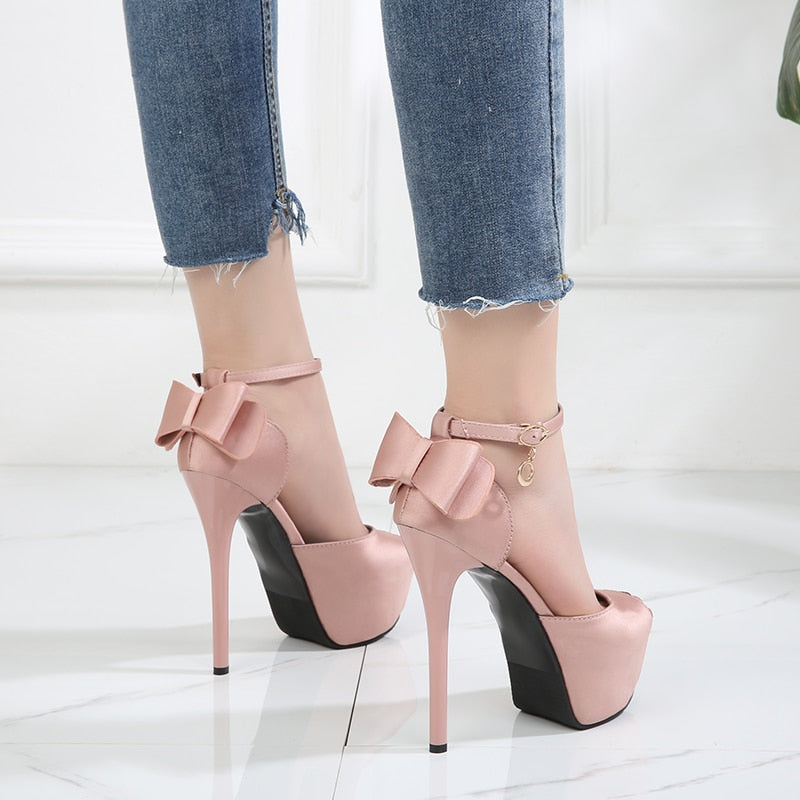 Butterfly Bow Stiletto Heels_allurelane
