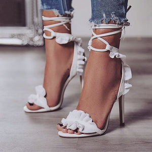 Floral Lace Up Peep Toe Heels_allurelane