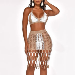 2 Piece Crop Top And Tassel Skirt Set_allurelane
