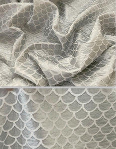 "Textured 1"" Mermaid Scales Shiny Silver Foil Poly/Spandex Stretch Fabric"