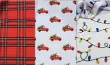 Load image into Gallery viewer, Bullet Textured Christmas Trucks, Plaid or Lights Liverpool Poly/Lycra/Spandex Stretch Knit Fabric
