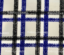 Load image into Gallery viewer, Bullet Textured Blue Black White Plaid Stripe Fabric