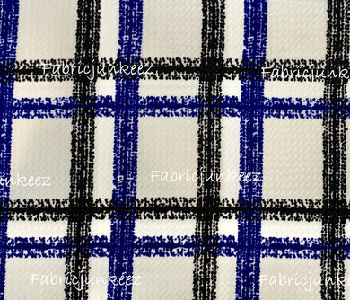 Bullet Textured Blue Black White Plaid Stripe Fabric