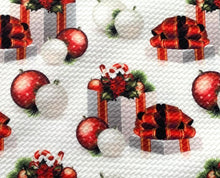 Load image into Gallery viewer, Textured Bullet Holiday Special Christmas Poly Spandex Stretch Fabric