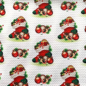 Textured Bullet Holiday Special Christmas Poly Spandex Stretch Fabric