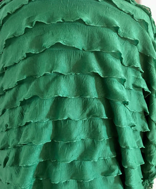 "1"" Green Ruffle Poly/Spandex Stretch Fabric"