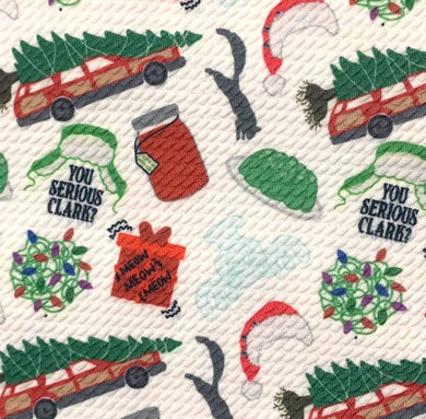 Bullet Textured Christmas Vacation Poly/Spandex Stretch Fabric