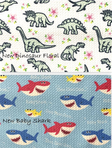 Bullet Textured Baby Shark & Dinosaurs Collection Fabric