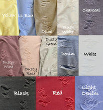 Load image into Gallery viewer, Distressed Collection Faded Washed Out Stretch Knit Fabric
