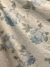 Load image into Gallery viewer, Distressed Grey Blue Floral Stretch Knit Fabric
