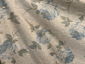 Distressed Grey Blue Floral Stretch Knit Fabric