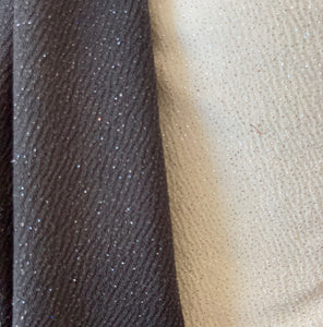 Textured Gorgeous Dazzling Glitter on Cream or Black Liverpool Stretch Fabric