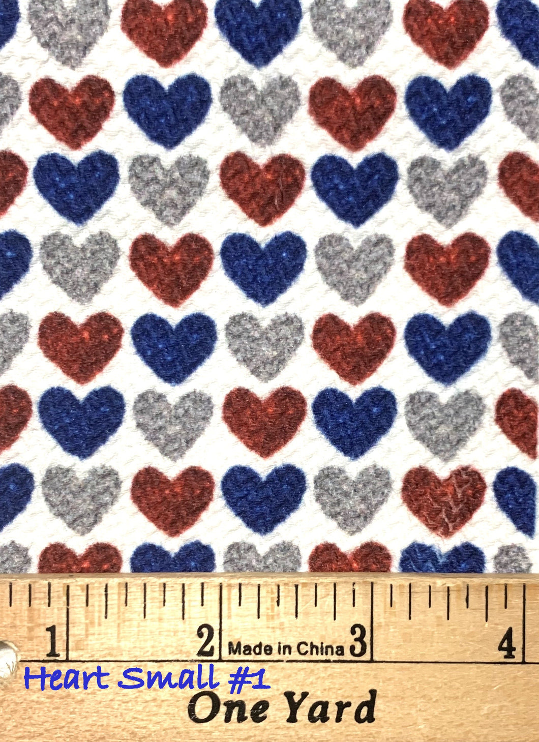 Bullet Textured Patriotic Heart Poly/Spandex Fabric