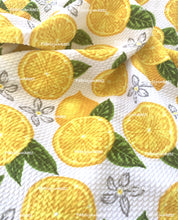 Load image into Gallery viewer, Bullet Textured Lemons Poly Spandex Fabric