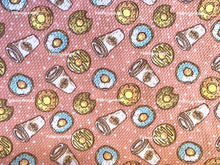 Load image into Gallery viewer, Bullet Textured Coffee & Donuts Fabric