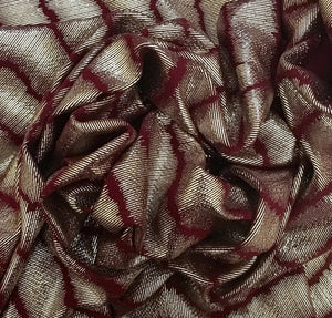 Textured Bullet/Liverpool Burgundy or Black Gold Stripe Foil Poly/Spandex Stretch Knit Fabric