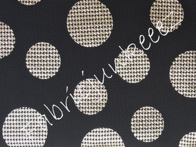 Bullet Textured Gold Foil Houndstooth Big Polka Dot Black Fabric