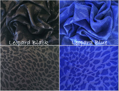 Bullet Textured Leopard Black or Royal Blue Liverpool Poly/Spandex Stretch Knit Fabric
