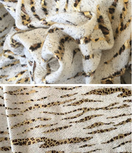 Textured Liverpool Leopard Gold Foil Poly/Spandex Stretch Knit Fabric