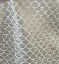 "Load image into Gallery viewer, Textured 1"" Mermaid Scales Shiny Silver Foil Poly/Spandex Stretch Fabric"