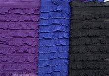 "Load image into Gallery viewer, 1/2"" Mini Ruffle Poly/Spandex Stretch Fabric By The Yard Purple, Blue or Black"