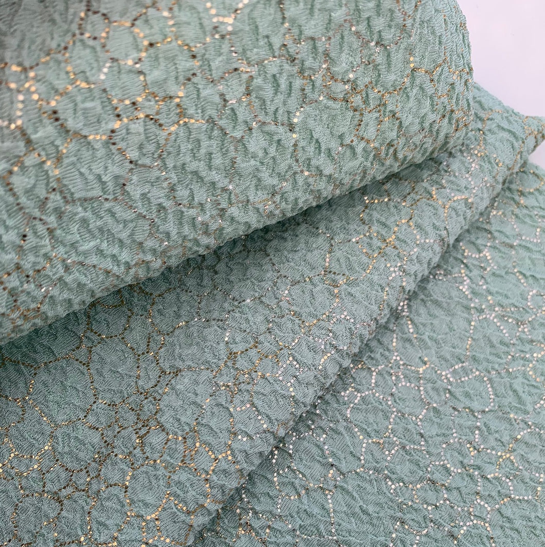 New! Textured Mint or Coral Foil Poly/Spandex Stretch Knit Fabric By The Yard