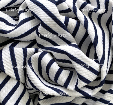 Bullet Textured Navy Blue White Stripe Fabric