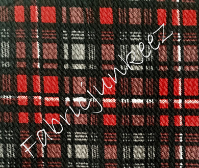Bullet Textured Red Black Grey White Plaid Stripe Fabric