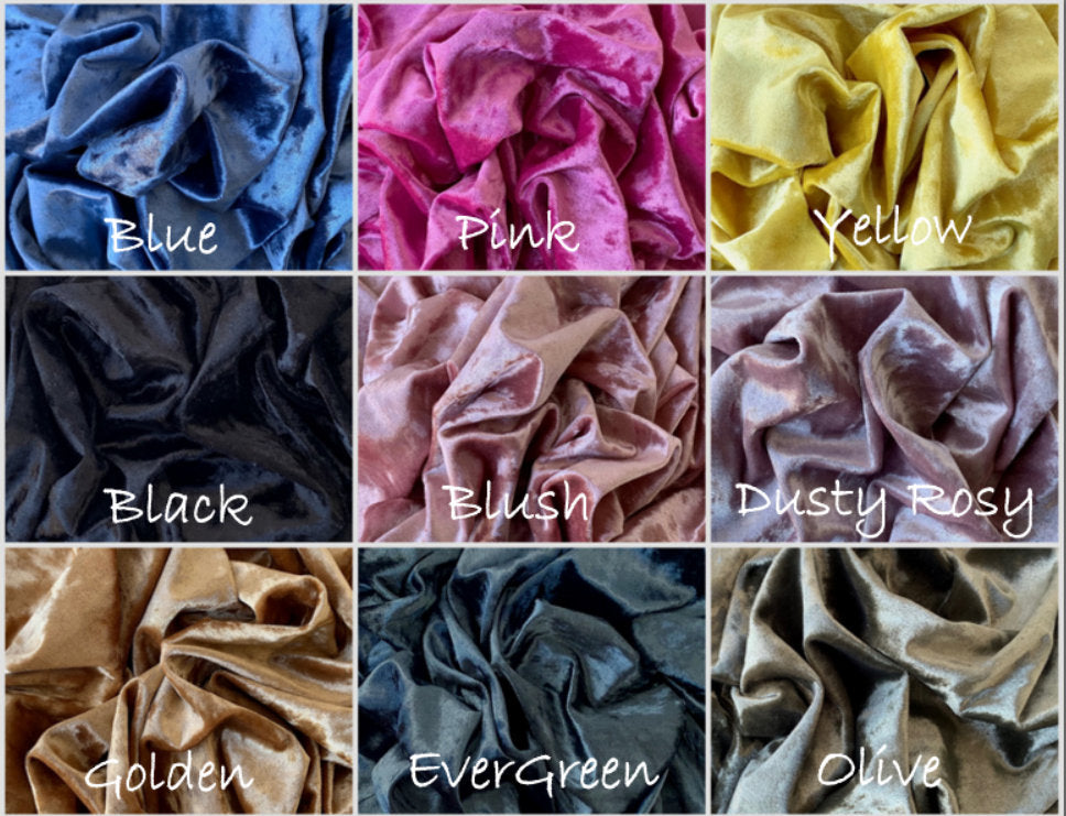 Crushed-Velvet Velour Soft Plush Low Pile Poly/Spandex Stretch Fabric