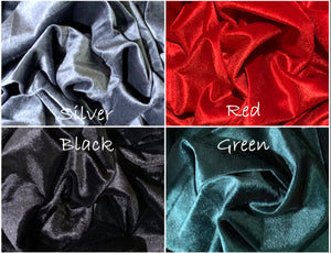 New! Quality Velvet Poly/Spandex Stretch Fabric Red, Green, Silver or Black
