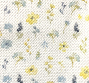 Bullet Textured Yellow/Blue Floral Collection Liverpool Poly/Spandex Stretch Knit Fabric