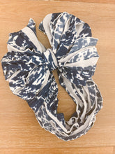 "Load image into Gallery viewer, 1/2"" Acid Washed Denim-Look Navy White Spots Stretch Ruffle Fabric"