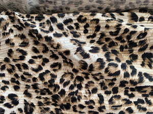 Textured Brown/Black Leopard Raised Lines Poly/Spandex Stretch Knit Fabric