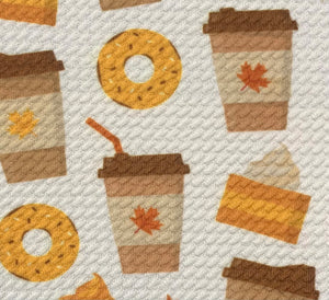 Bullet Textured Coffee & Donuts Fabric