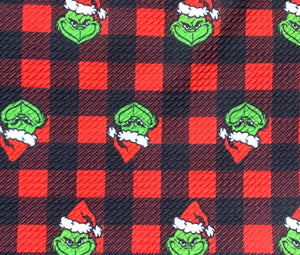 Textured Bullet Grinch Buffalo Plaid Poly Spandex Stretch Fabric