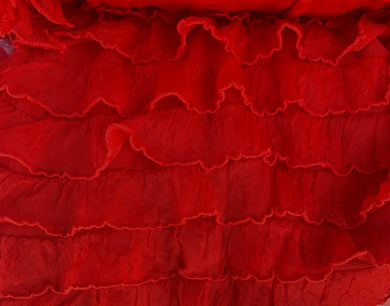 "1"" Red Ruffle Poly/Spandex Stretch Fabric"