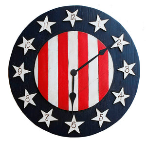 Americana Flag Decor Clock