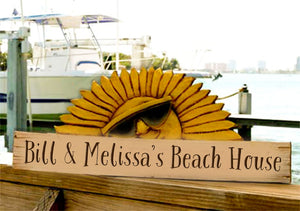 Beach House Sun Personalized Sign