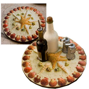 Beach Kitchen Decor, Shell Lazy Susan