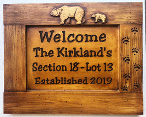 Rustic Bear Name or Address Sign