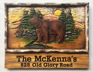 Bear Rustic Custom Name and Address Sign