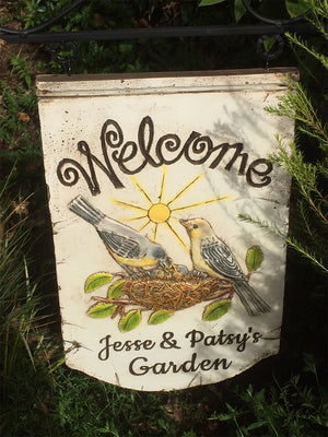 Birds Personalized Welcome Hanging Yard Sign with Yard Stake