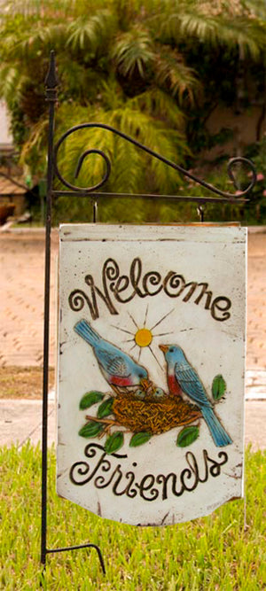 Blue Birds Welcome Friends sign with Yard stake