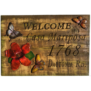 Butterfly Custom Name and Address Sign