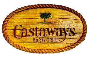 Castaways Bar and Grill wall sign for Nautical decor