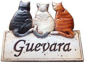 Cat wall plaque Welcome sign personalized