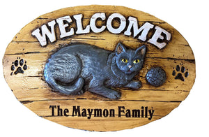 Cat Welcome Personalized Name or Address Sign