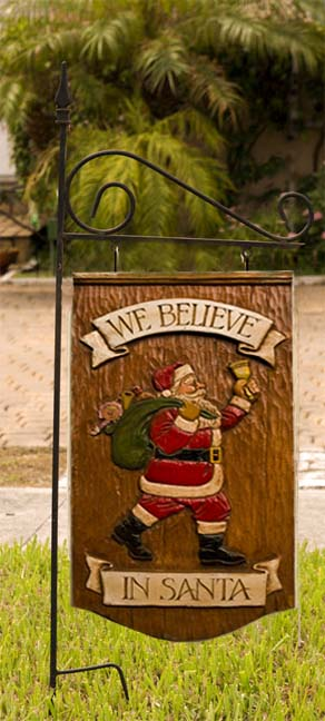 Christmas Santa plaque with yard stake
