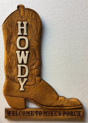 Cowboy Oversize Boot Personalized Sign